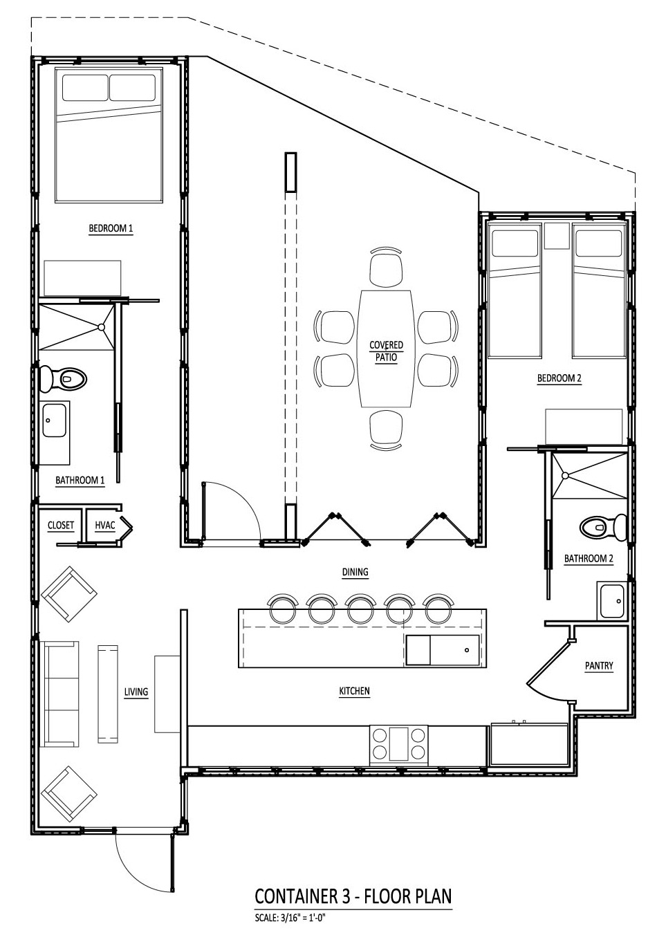Astounding Design Of The Shipping Container House Plans With Big Kitchen Areas Added With Two Bedroom Areas
