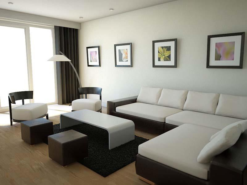 Astounding Design Of The Small Living Room With L Shape White Sofa Added  With Black Rugs Part 13