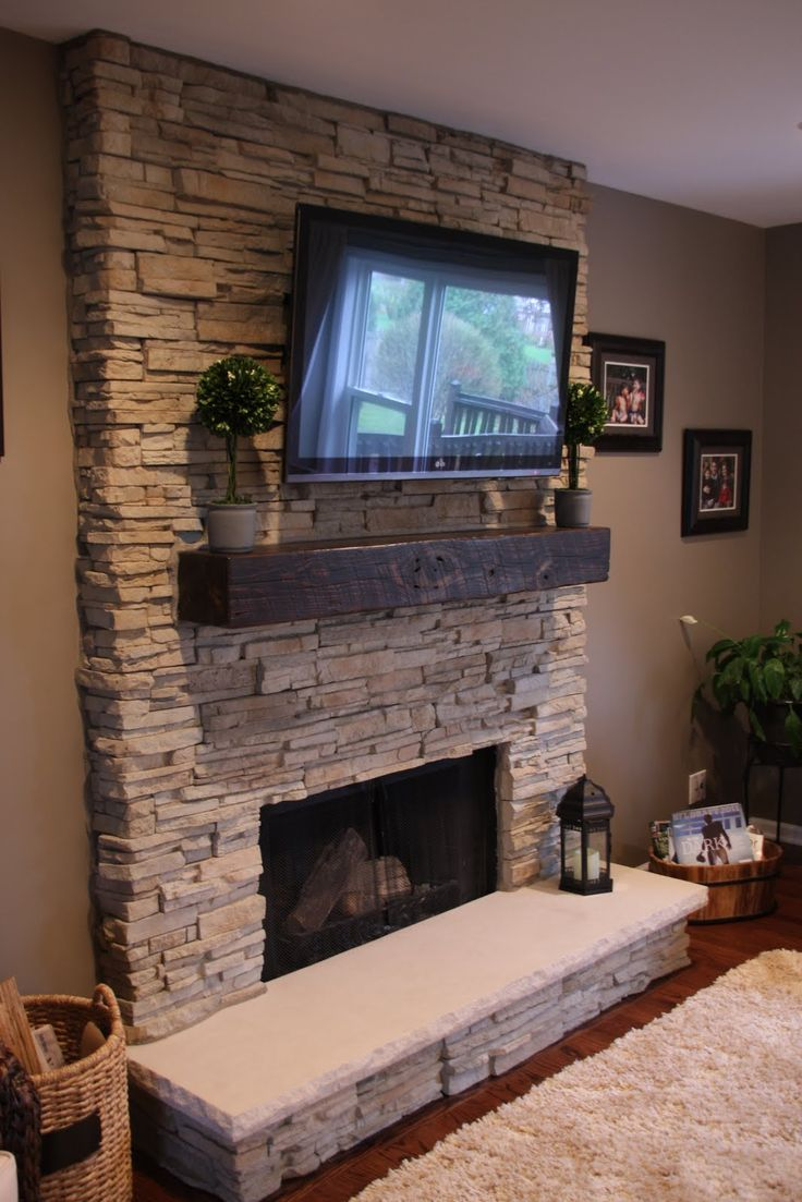 Astounding Design Of The Stone Fireplace Surround With White Color Ideas Added With TV Above The Shelf