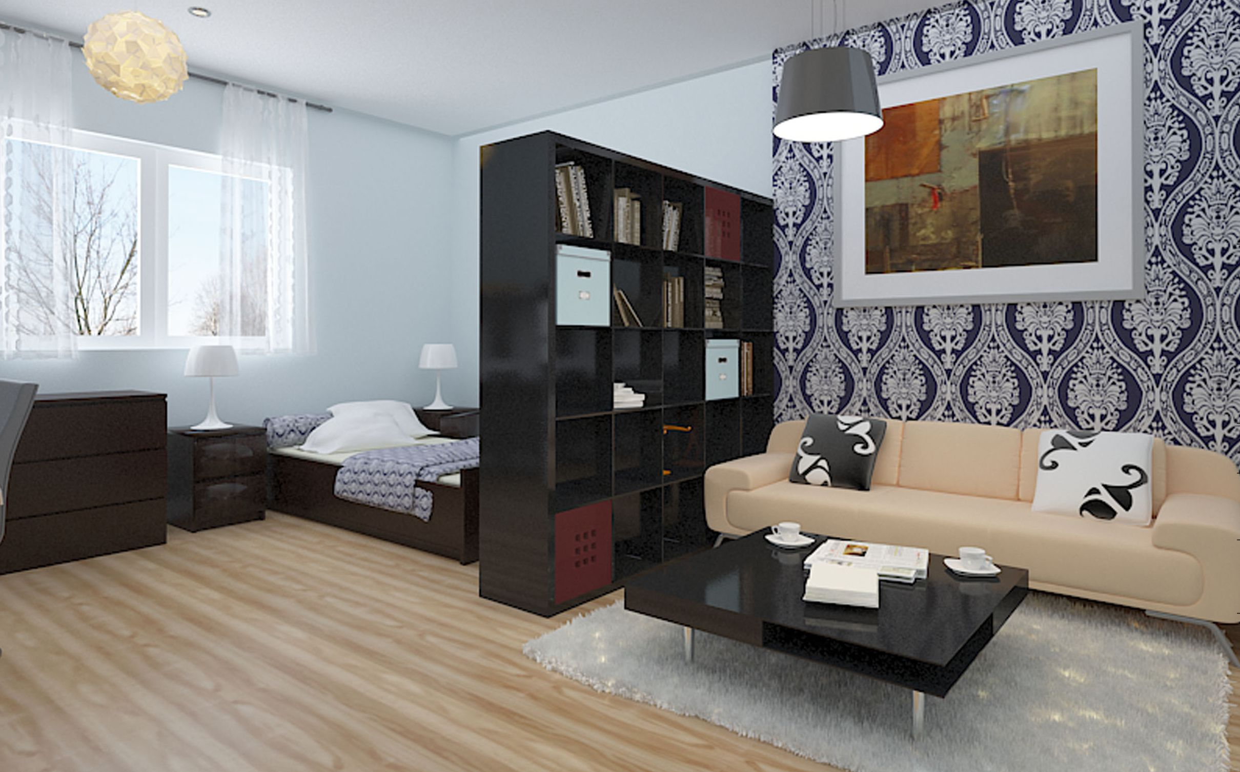 Charmant Astounding Design Of The Studio Apartment Layout With Young Brown Wooden Floor  Ideas Added With White