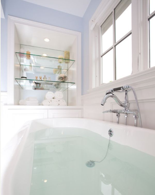 Beautiful Attractive Bathtub With Stainless Steel Faucet Also Modern Glass Bathroom  Shelves