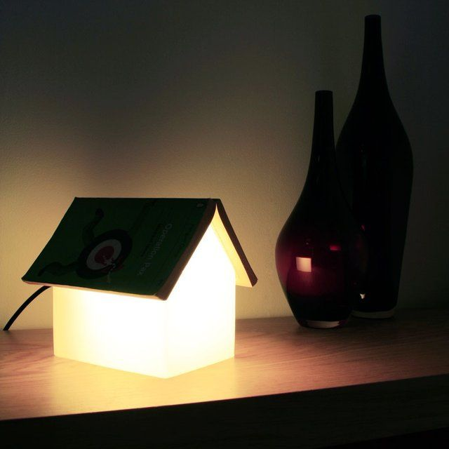 Attractive Design Of Unique Table Lamps  With House Shape Near Jars