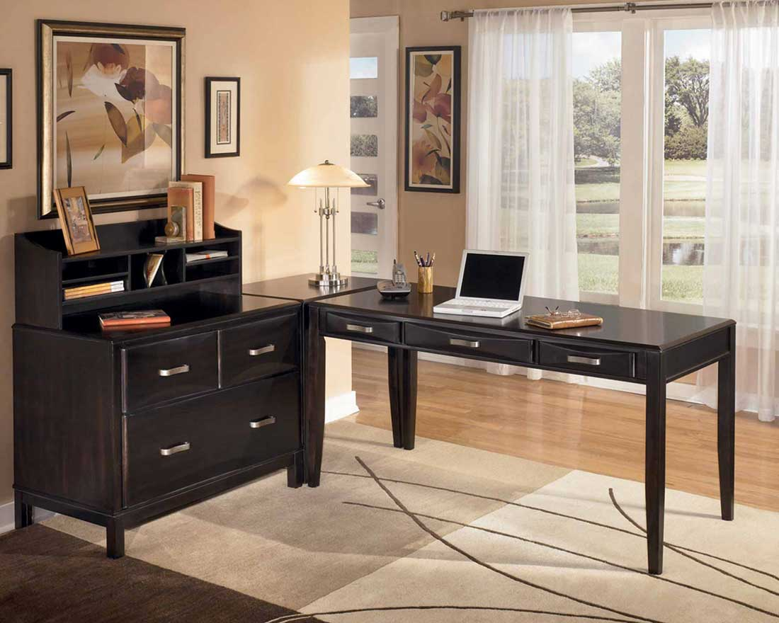 Attractive Design Of Black Wooden Home Computer Desks Also Drawers