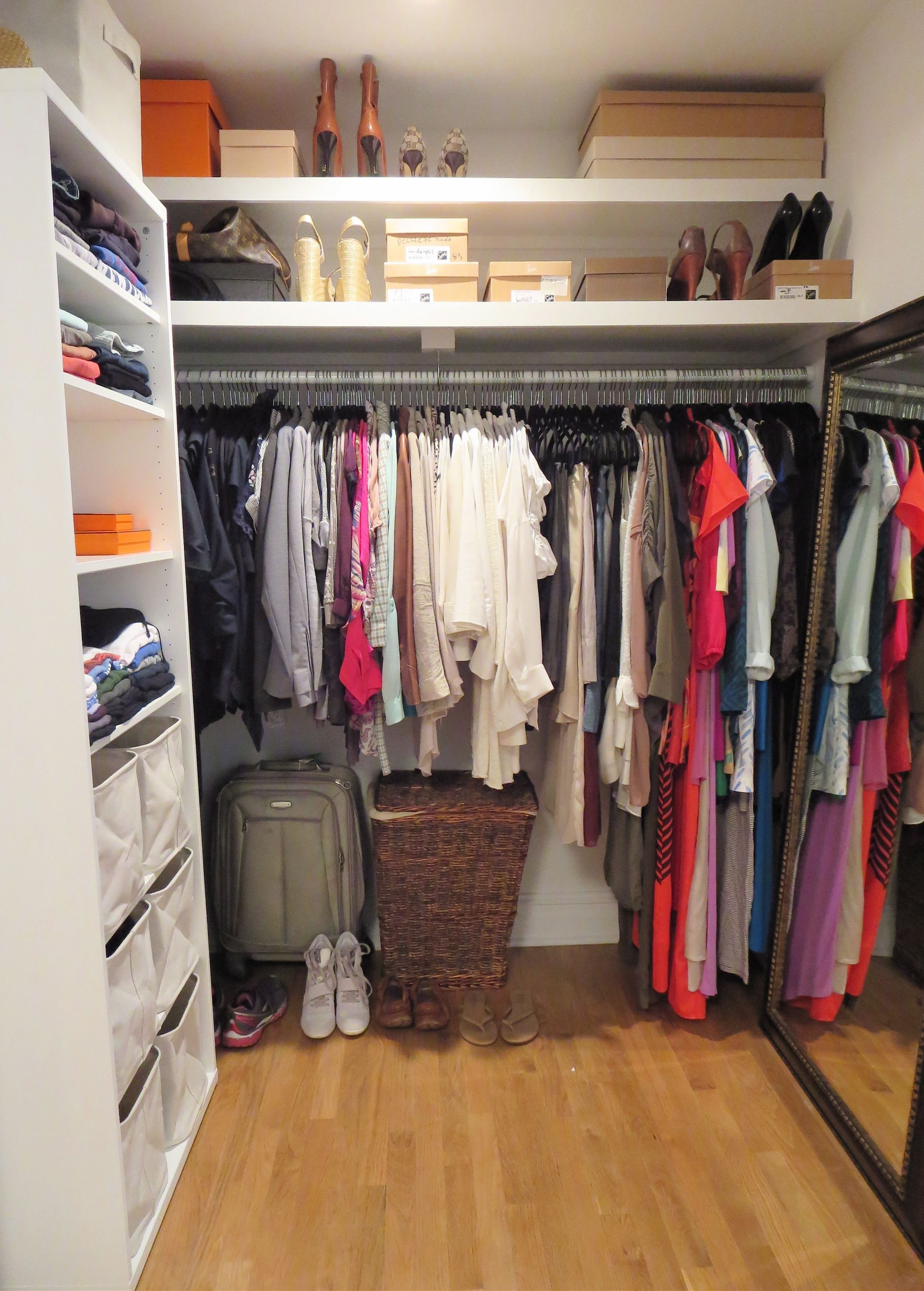 Attractive Interior Small Closet Design Ideas Using Hanging Clothes also Mounted Shelve