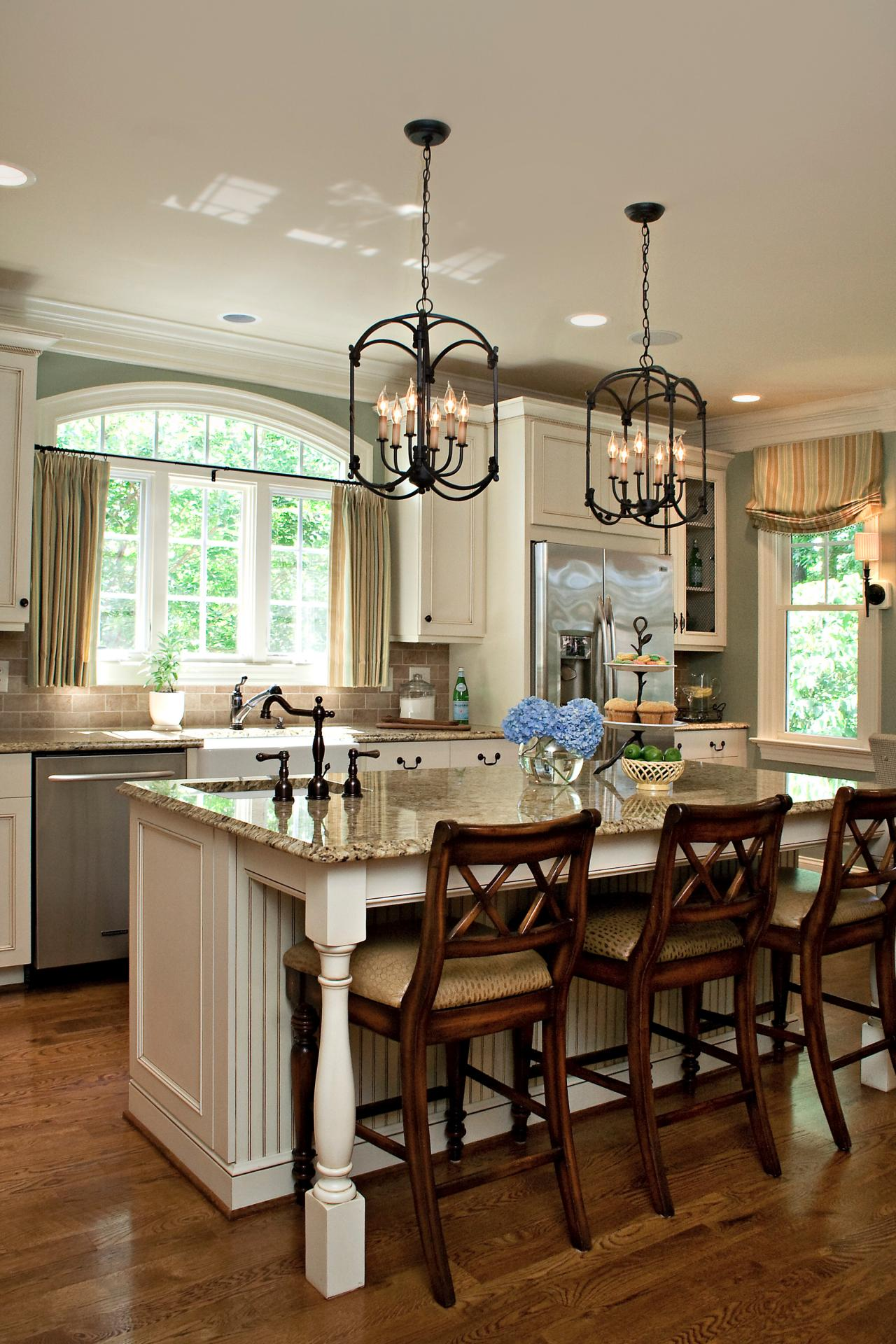 Attractive Kitchen Decor Using Pendant Lighting also Bar Table and Chair