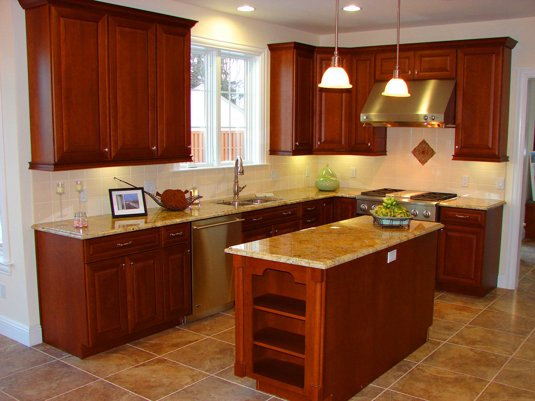 Attractive Kitchen Layout Planner With Wooden Cabinet Using Granite Top