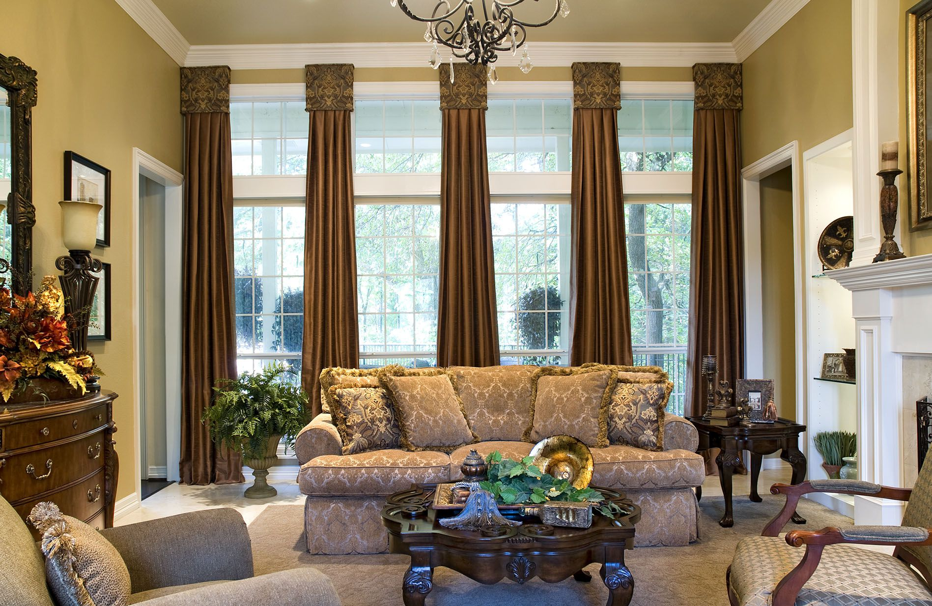 Attractive Living Space Using Brown Window Curtain and Modern Furniture