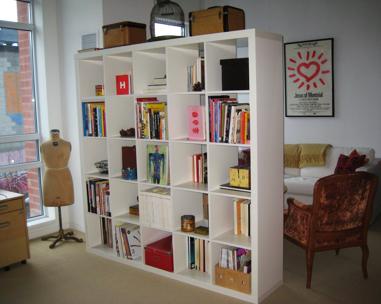 Awesome Apartment Decor Using White Bookshelf Room Divide Near Arm Chair