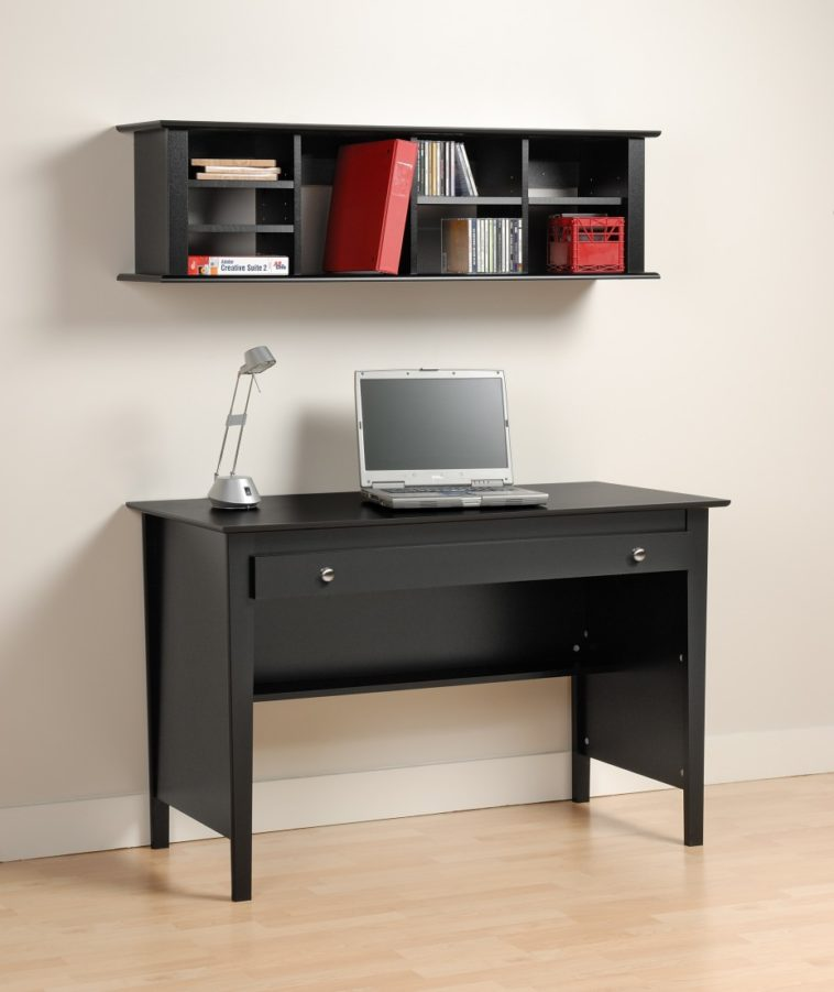 Awesome Design Of The Black Desk With Drawers With White Wall And Floating  Bookcase Ideas Added