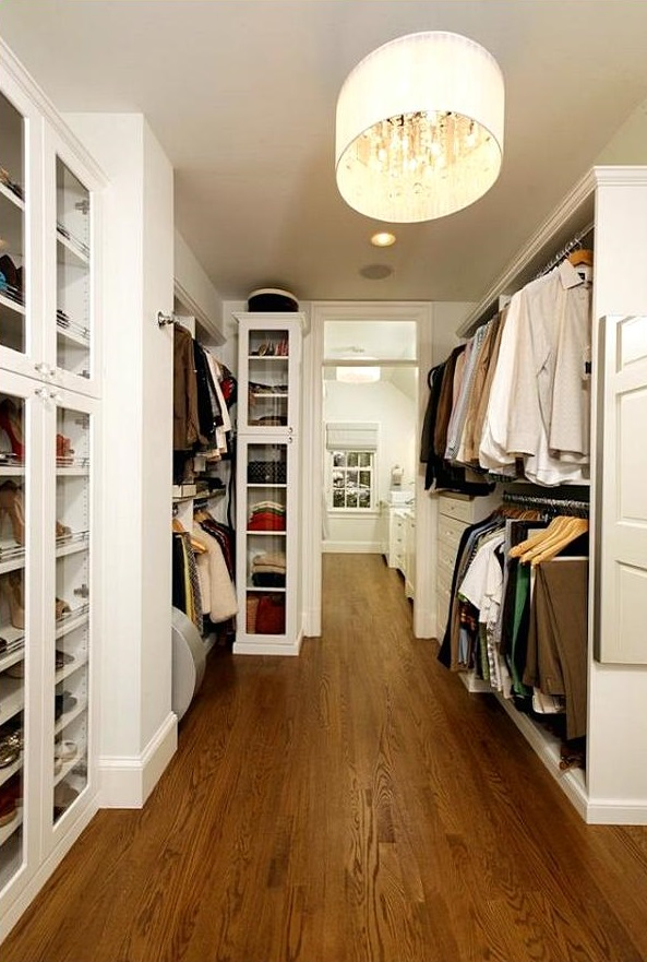 Awesome Design Of The Closet Light Fixtures With Brown Wooden Floor Added With White Wooden Shelves For The Clothes And Others