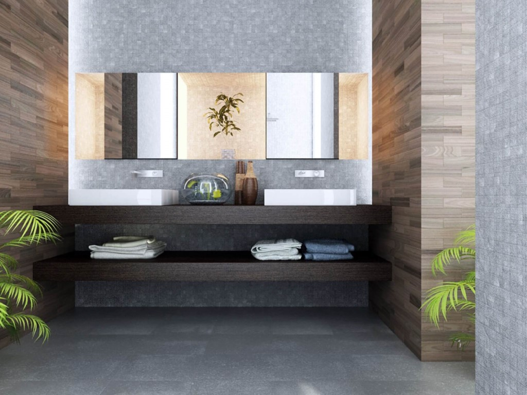 Merveilleux Awesome Design Of The Contemporary Bathroom Vanities With Brown Wooden  Cabinets And Double White Sink Ideas