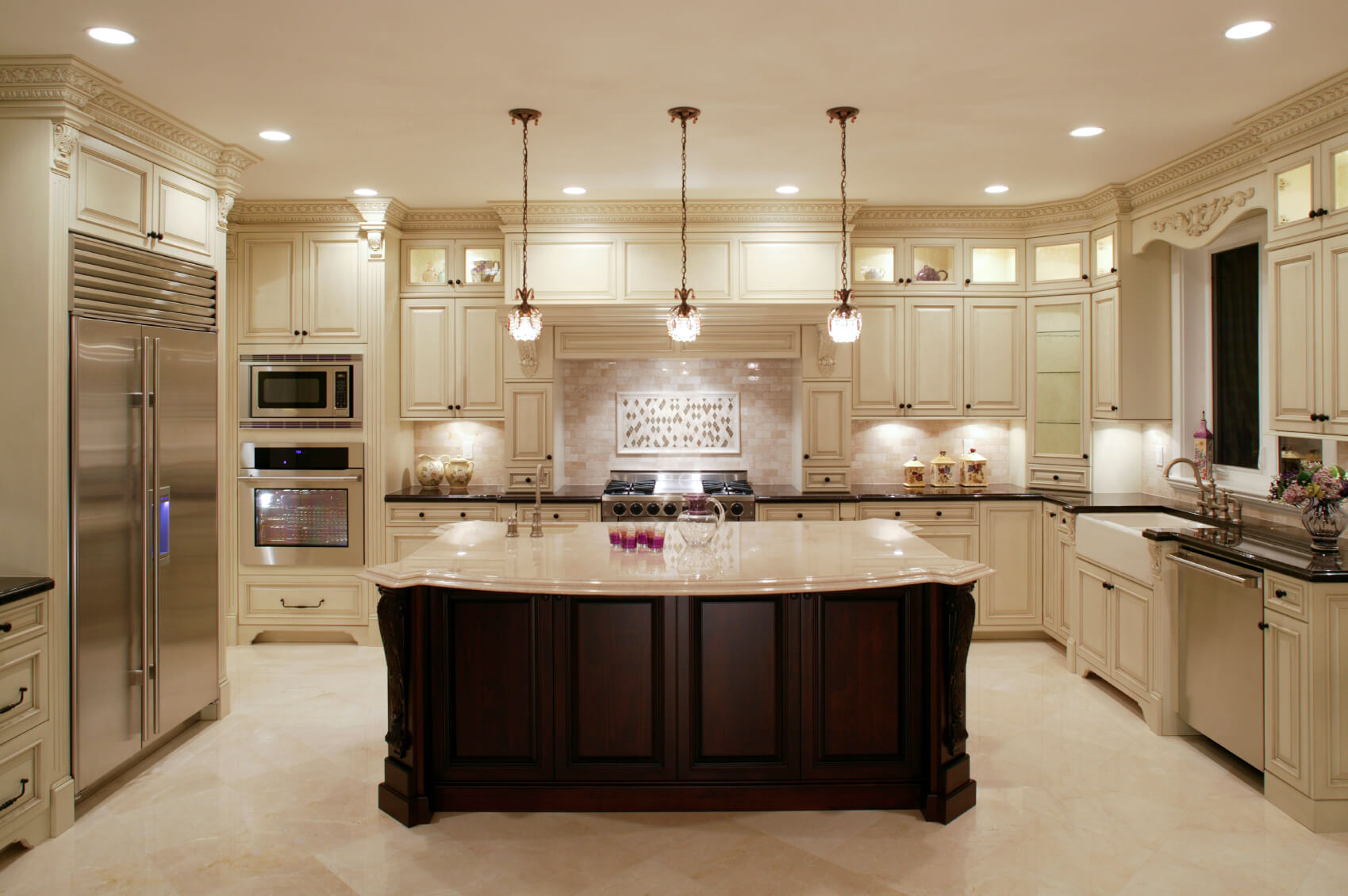Awesome Design Of The Kitchen Areas With Brown Wooden Kitchen Island Added With Three Hanging Lamp And White Floor Ideas