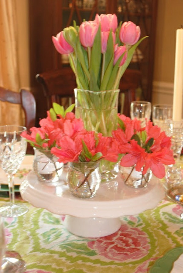 Awesome Design Of The Table Decoration Ideas With Pink Lily Flower Ideas Added With Floral Motive Napkins Ideas