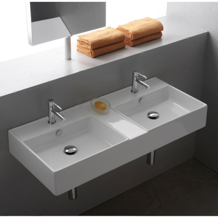 Awesome Design Of The Wall Mounted Sink Ideas With Double Sink Put On The Grey Wall Ideas With Silver Faucets