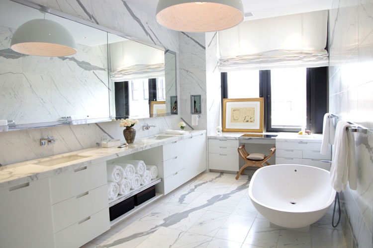 Awesome Design Of The White Bathroom Mirror With White Wooden Cabinets And White Tub Added With White Marble Floor Ideas