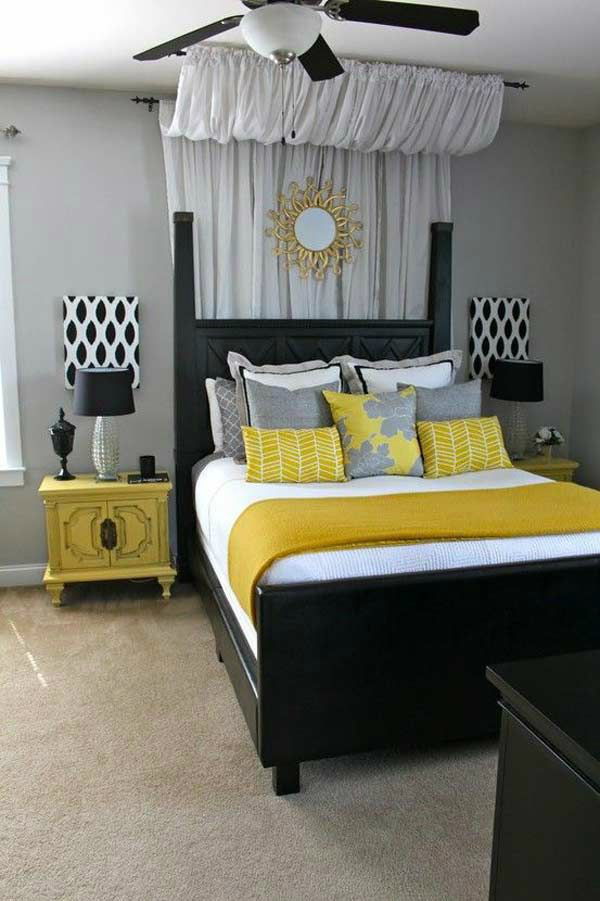 Awesome Design Of The Yellow And Gray Bedroom With Black Wooden Bed Added With Yellow Side Table And Grey Wall
