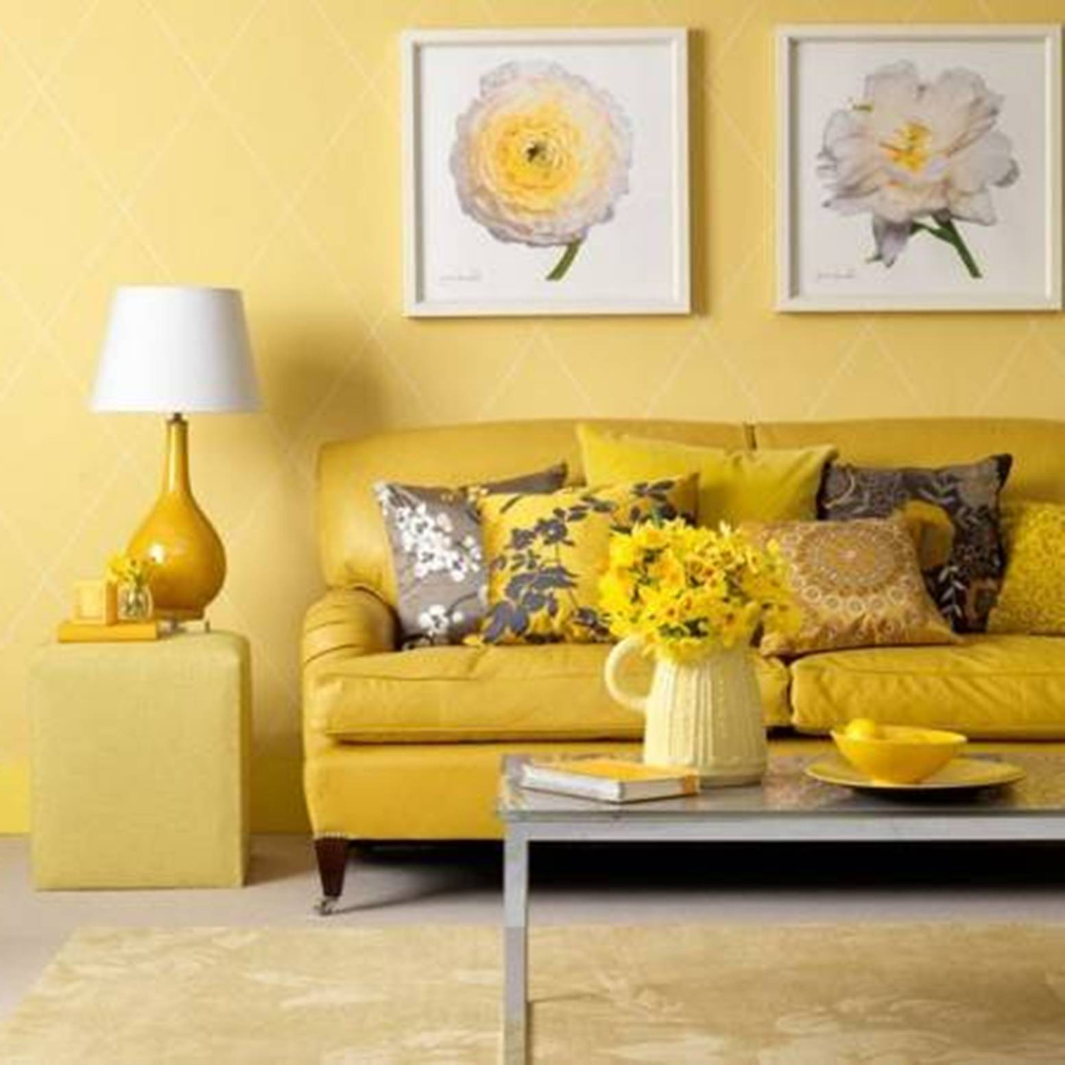 Awesome Design Of The Yellow Living Room With Wall Ideas Added Leather Sofa