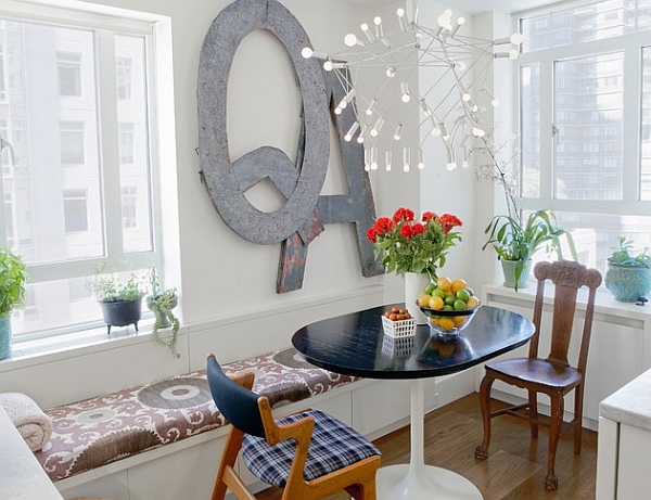Awesome Dining Space With Window Seat also Table and Chair