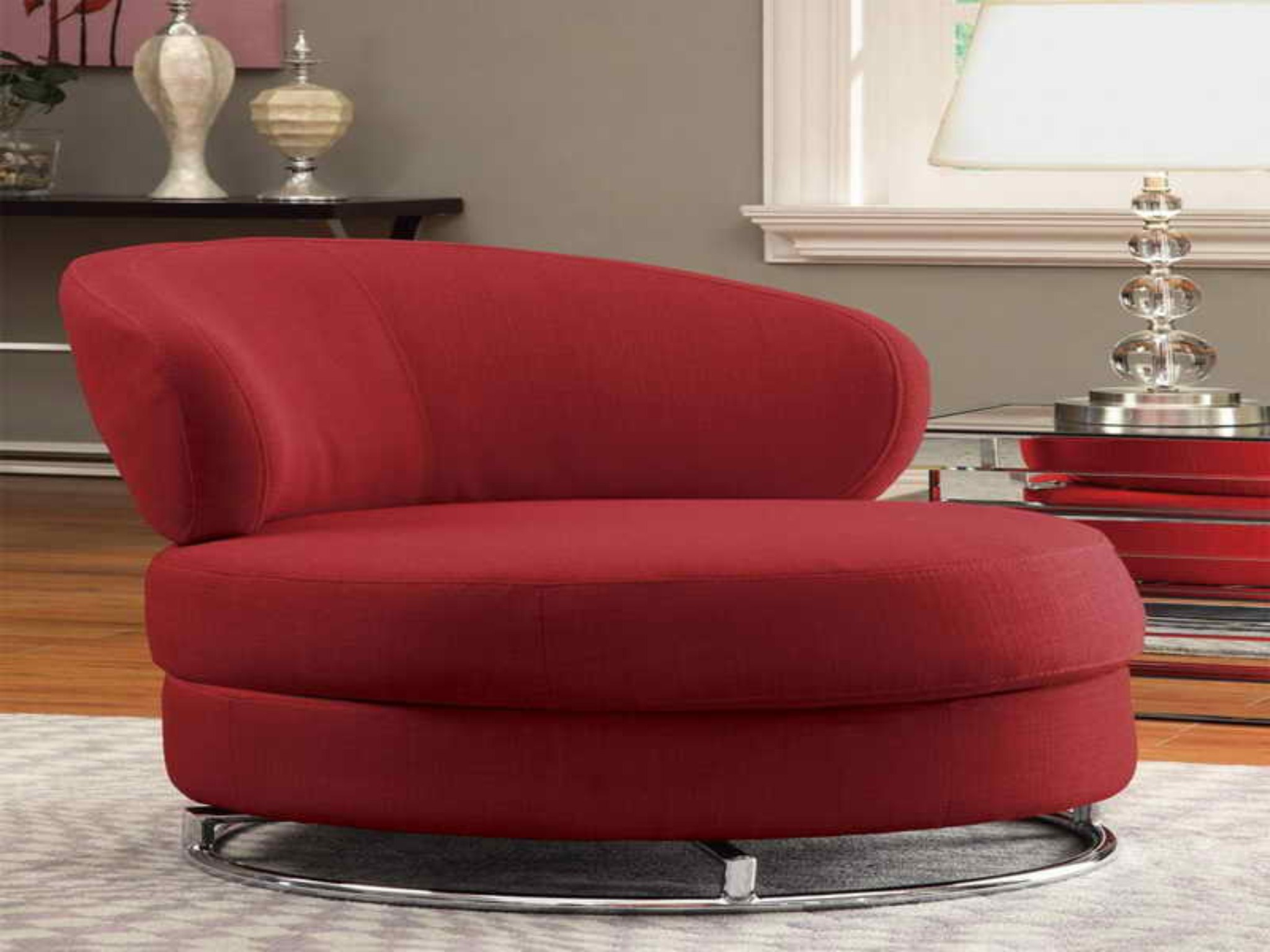 Awesome Living Area With Red Sofa also Hug Table Lamp Shade