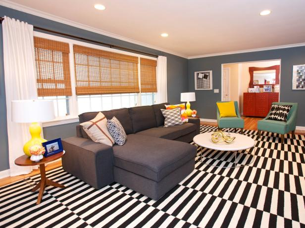 Awesome Sofa Bed also White Table Plus Black and White Stripe Living Space Rugs