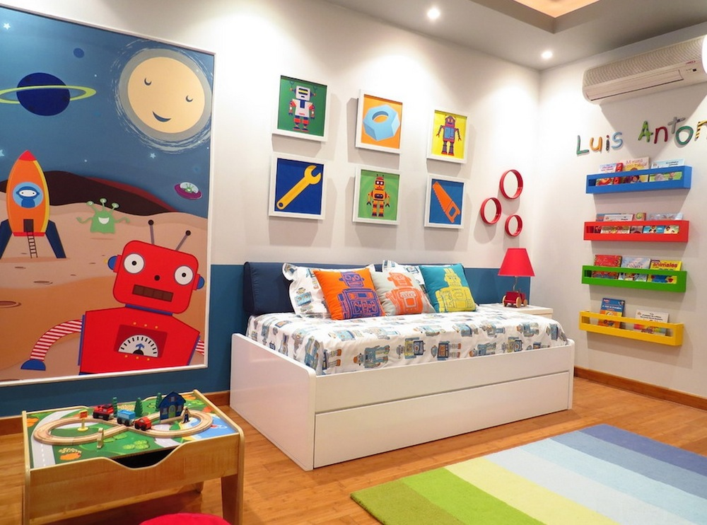 Awesome Wall Decor also Colorful Shelve Plus Bed for Play Area For Kids