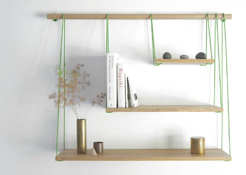 Awful Hanging Wooden Wall Mounted Bookshelf With Rope
