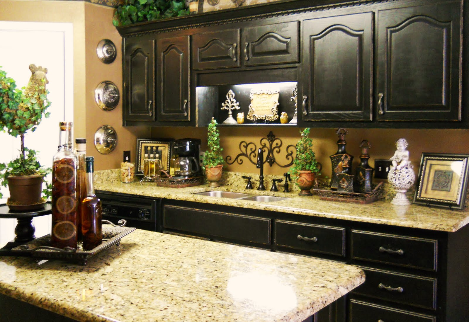 Awful Kitchen Decorating Themes Using Dark Wooden Cabinet and Cute Accessories