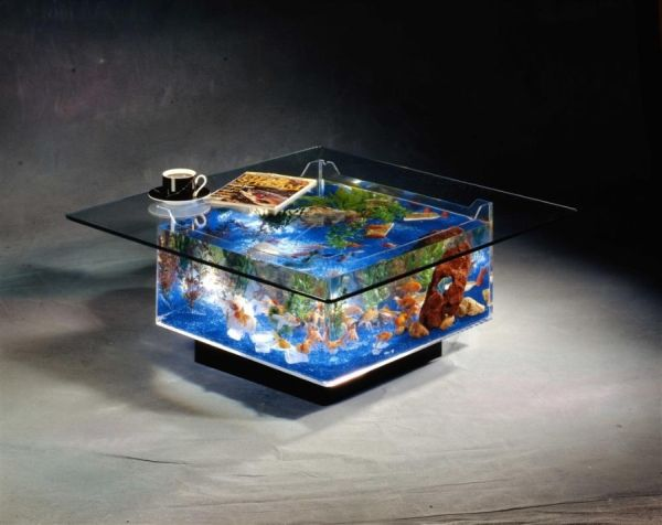 Awful Square Glass Coffee Table With Modern Fish Tank Design