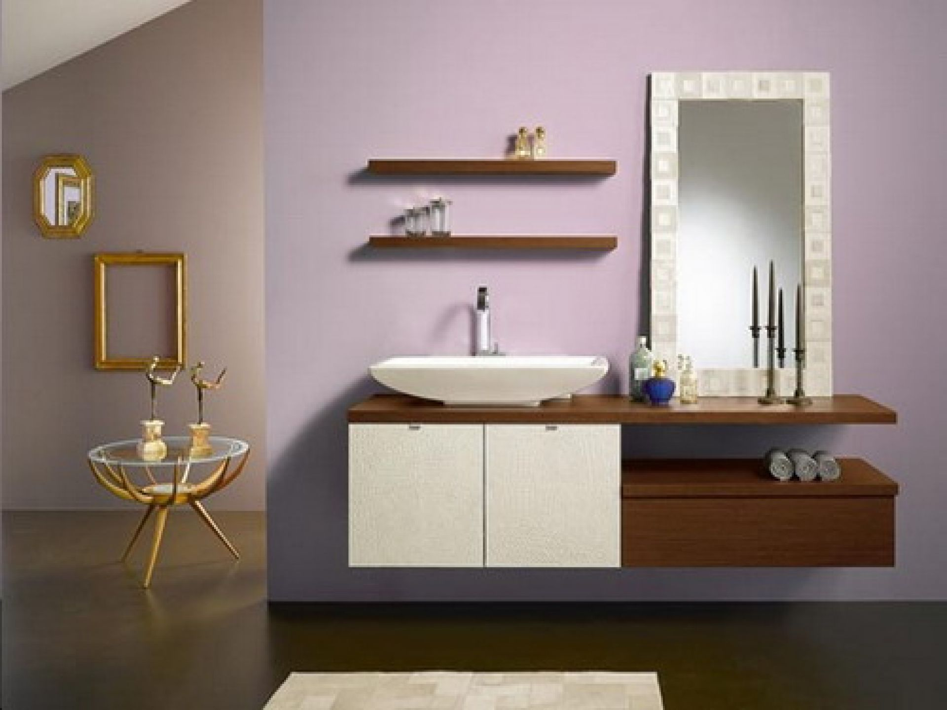 Beauteous Bathroom Using Hanging Cabinet and Mounted Wooden Shelve Decor