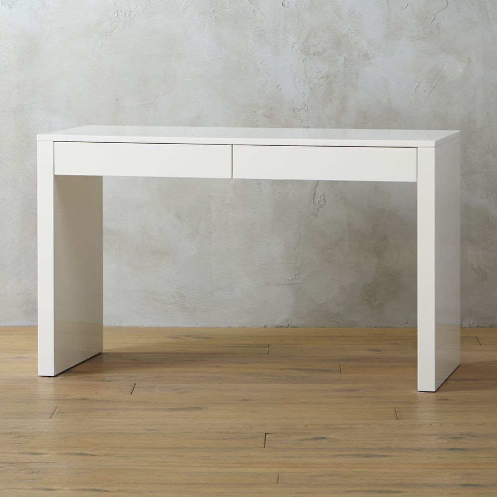 Beauteous Concept of White Modern Desk With Drawers also Strong Legs