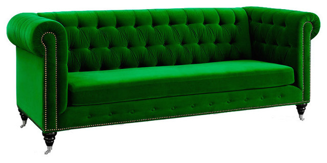Beauteous Design of Velvet Sofa With Tufted Back and Metal Legs