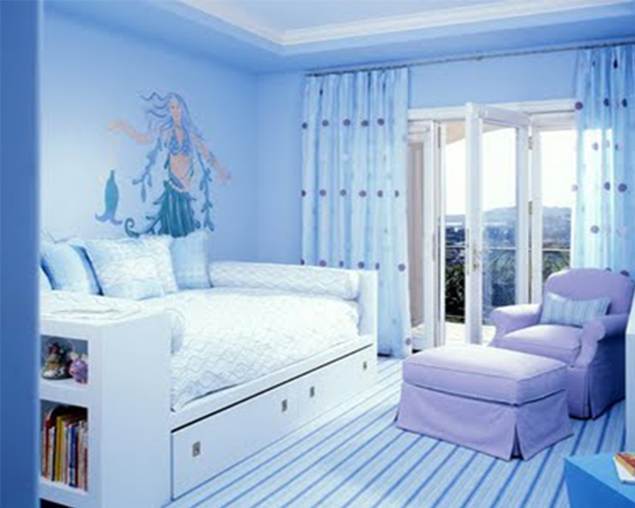 Beauty Design Of The Bedroom Paint Color Ideas With Blue Wall Ideas Added With White Wooden Bed And Blue Tosca Curtain Ideas