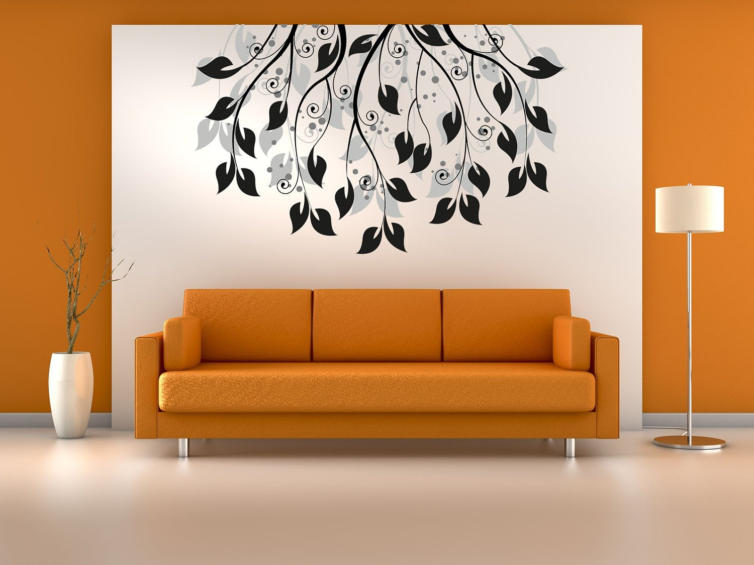 Beauty Design Of The Living Room Inspiration With Orange Fabri Sofa Ideas Added With White And Orange Wall Ideas