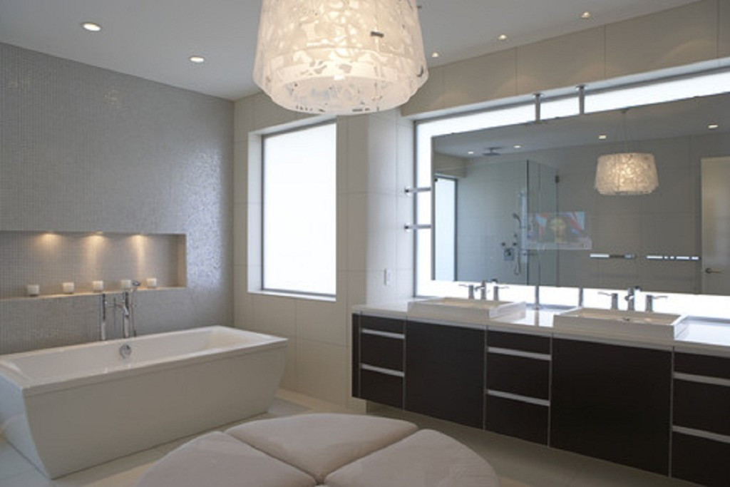 Genial Beauty Modern Bathroom Lighting With Huge Lamp At The Ceiling Added With  Brown Wooden Cabinets And