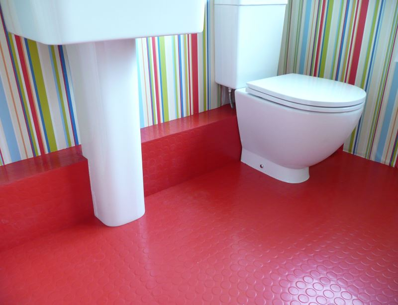 Beckoning Bathroom Flooring Options In Red also Stripes Wall Decor Ideas