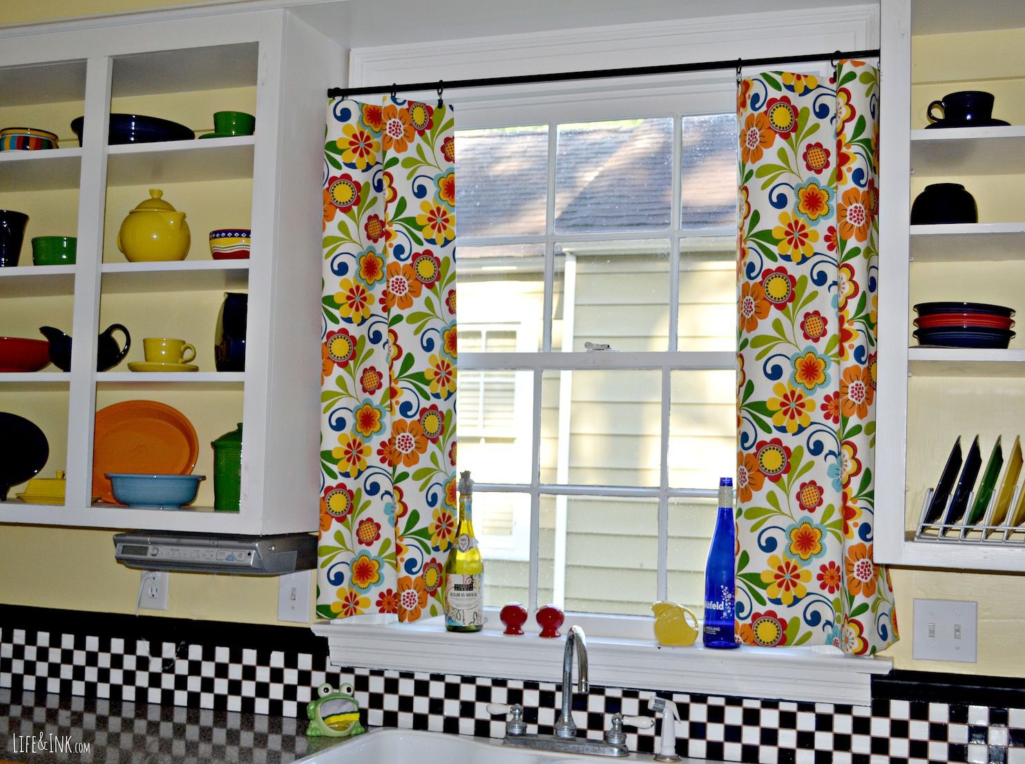 Beckoning Flowery Window Curtains Between Shelves also White Tile Backsplash