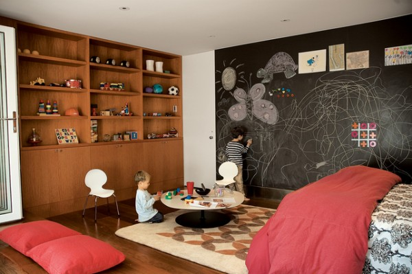 Beckoning Play Area For Kids Room With Black Wall also Wooden Shelve