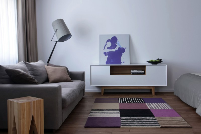 Beckoning Sofa Beside Table and Floor Lamp for Studio Apartment Decorating