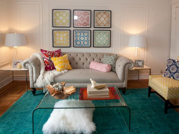 Beckoning Sofa also Visible Glass Coffee Table on Blue Living Space Rugs