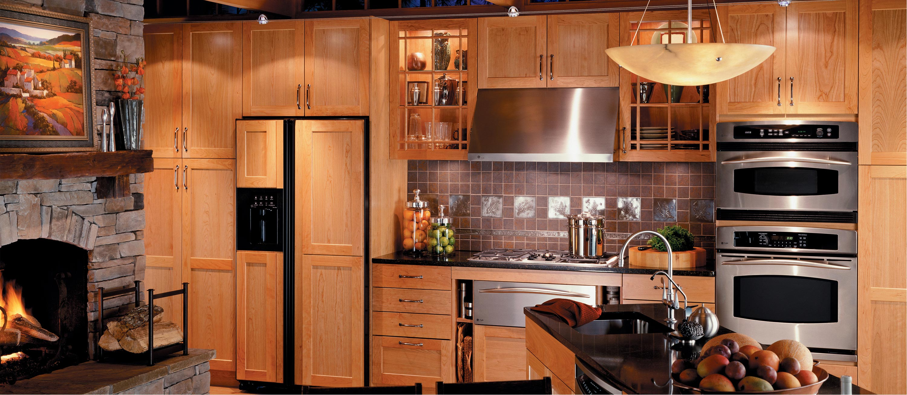 Beckoning Wooden Cabinet also Attractive Chandelier For Best Kitchen Layout Design