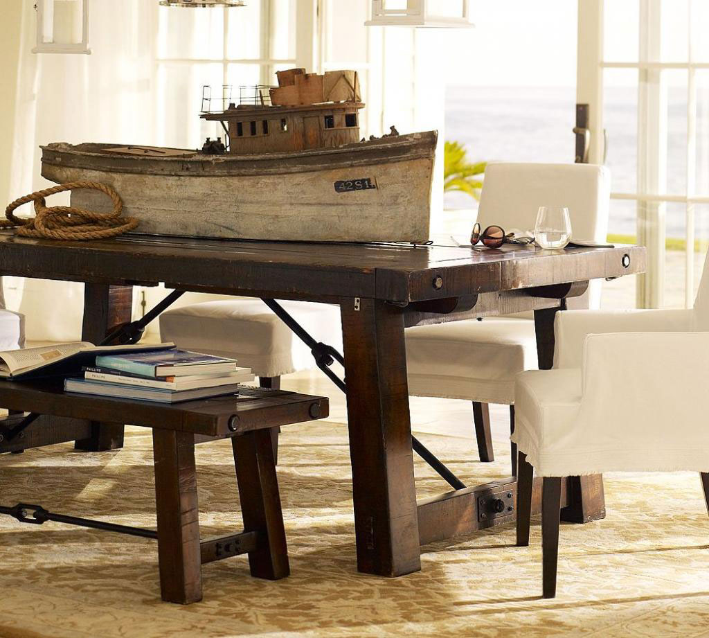Beckoning Wooden Table and Bench also Chairs for Rustic Interior Design Ideas
