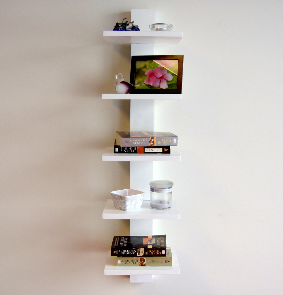Best Book Shelves Design With Five Racks Attached On Wall