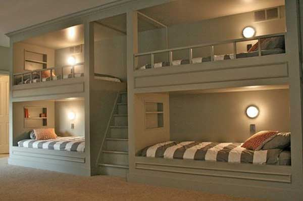 Beau Best Bunk Beds Design With Ladder Also Round Wall Lamps