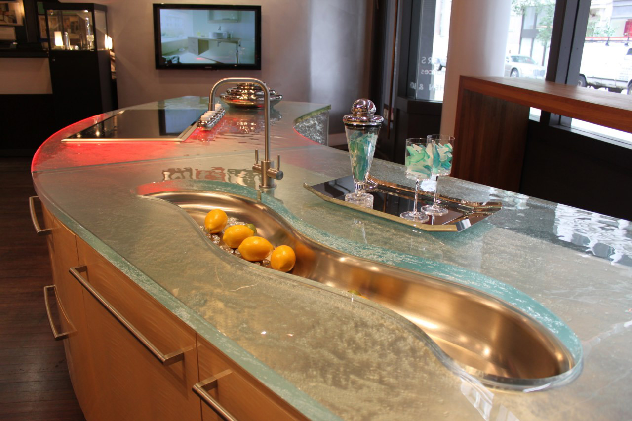 Best Cabinet Design Ideas Using Tempered Glass Countertop For Contemporary Kitchen
