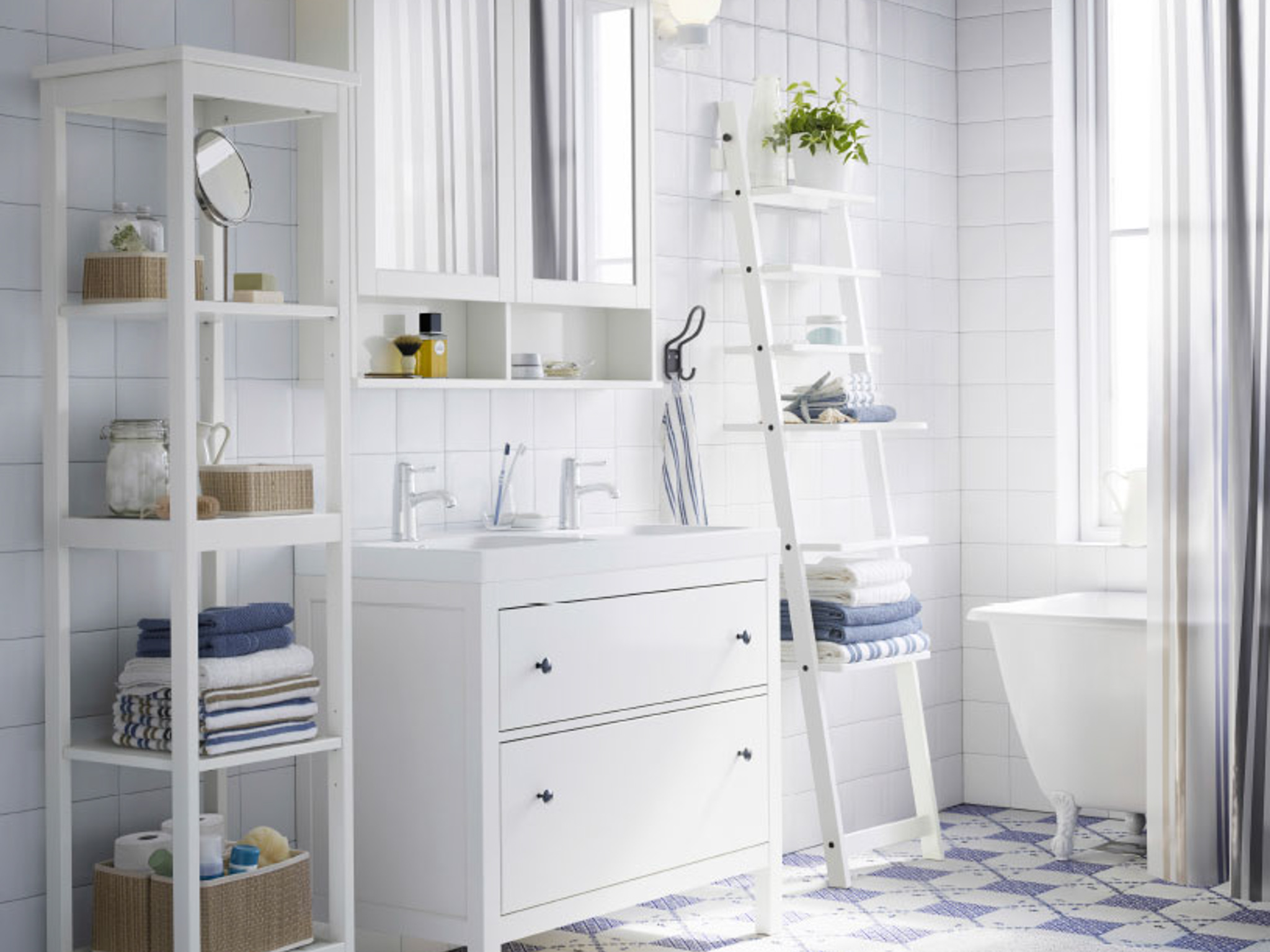 Best Interior With Bathroom Curtain Ideas also Ladder Shelve Beside Cabinet