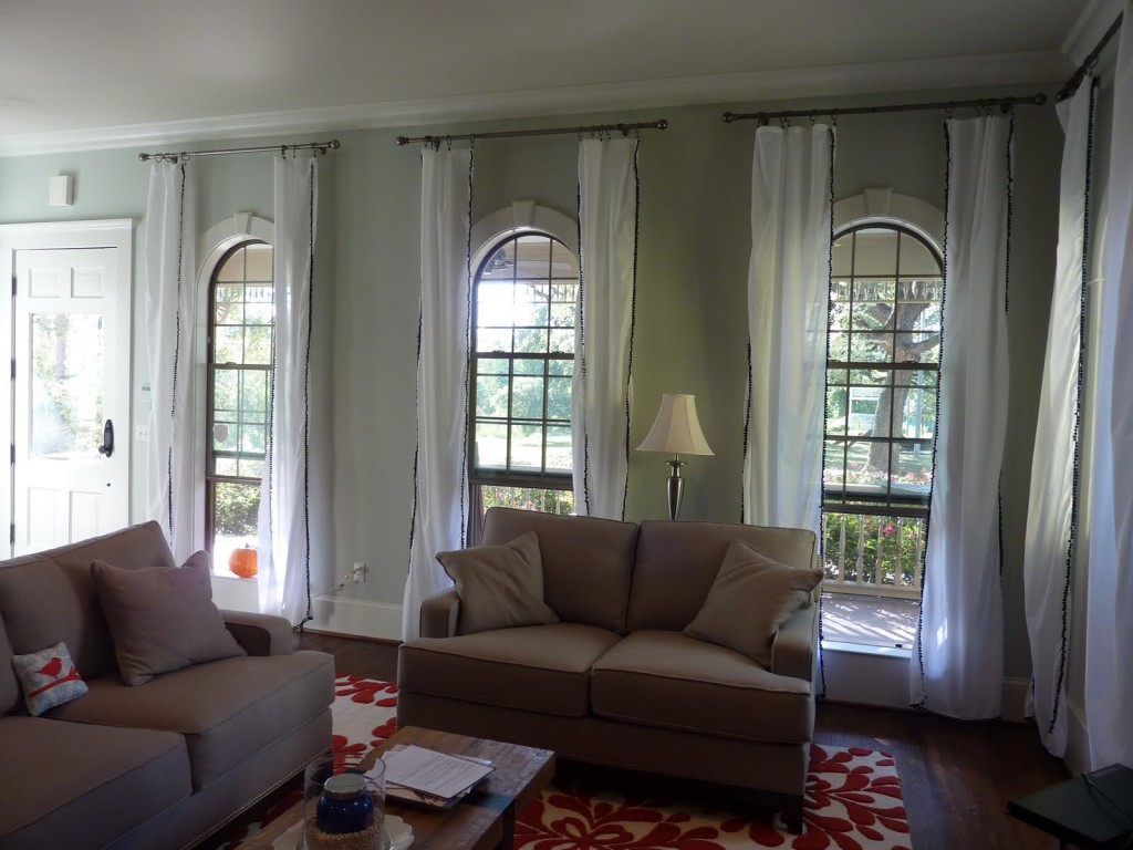 Best Living Space Design Using Sofa also Coffee Table Plus Window Curtain Ideas