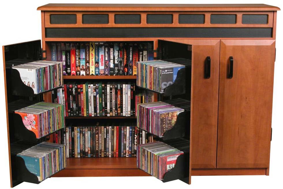 Brilliant Bedroom Storage Furniture Design For Saving DVD of Wooden Material