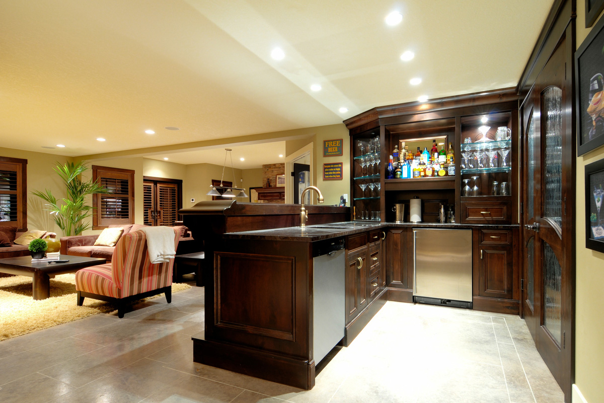 Brilliant Interior Basement With Cabinet also Wine Rack Plus Sofa Set
