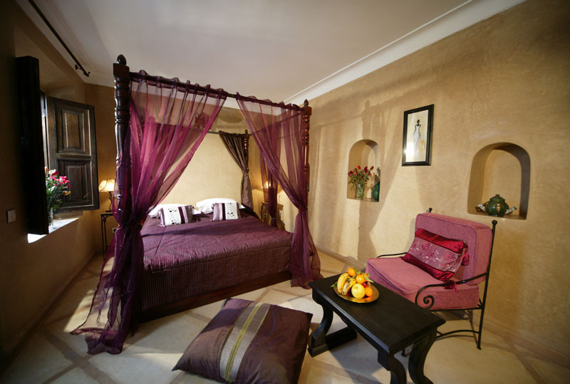 Brilliant Interior Bedroom With Japanese Bed also Purple Mosquito Net Beside Chair