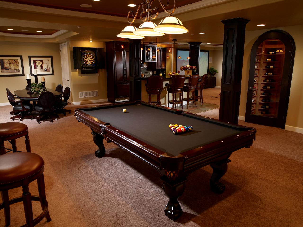 Captivating Basement Wit Billiard Table Under Bowl Shade Pendant Light Fixture